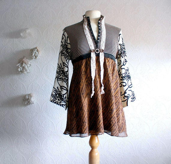 Women's Brown Bohemian Top Upcycled Clothing Boho Chic Tunic Peasant Shirt Ladies Clothes Medium 'JANELLE'