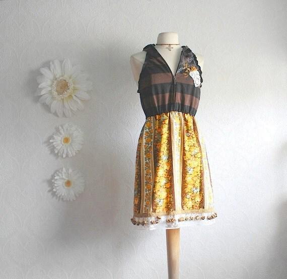 Ladies Bohemian Dress Brown Upcycled Hooded Sundress Vintage Floral Halter Style Fringed Womens Clothing Medium 'LAURA-LEE'