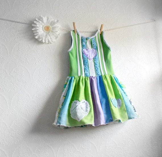 Girl's Green Dress 5T Upcycled Blue Sundress Toddler Clothing Eco Friendly Children's Clothes Hearts Lace 'VICTORIA'