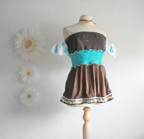 Upcycled Clothes Women's Brown Top Off Shoulder Turquoise Blue Bohemian Shirt Ladies Clothing Strapless Eco Fashion Medium 'EDIE'