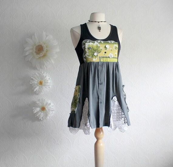 Black Upcycled Shirt Women's Gray Top Green Bohemian Long Tunic Tank Recycled Vintage Eco Fashion Ladies Clothes Medium 'ALEXA'