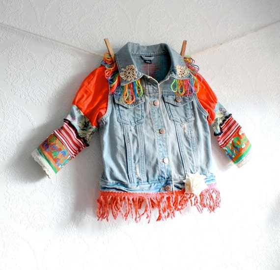 Upcycled Girl's Jean Jacket 6 7 Children's Clothing Faded Denim Coral Fringe Multicolor Sleeves Bohemian Style 'CHEYENNE' Cyber Monday Etsy
