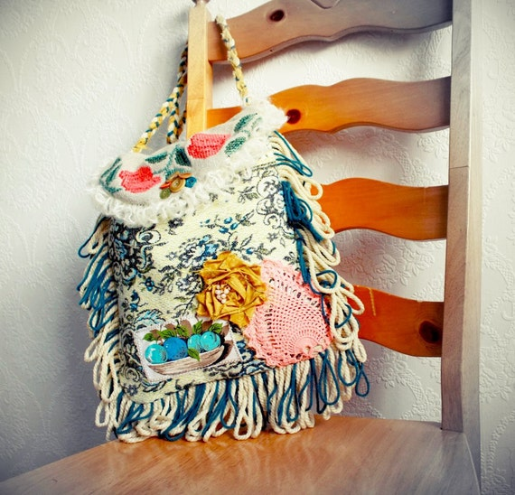 Gypsy Style Bohemian Bag Teal Fringed Purse Boho Chic Cross Body Vintage Fabric Hippie Messenger Mustard Yellow 'JOYANNA'