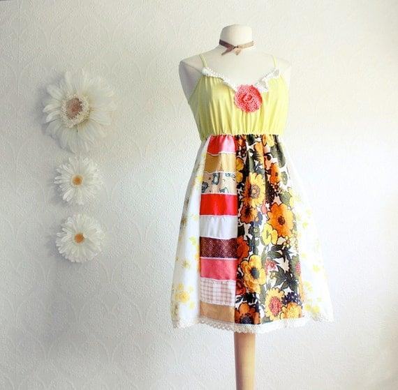 Hippie Style Women's Dress Yellow Retro Sundress 70s Bohemian Clothing Orange Patchwork Upcycled Eco Fashion XL Size XLarge 'JANIS'