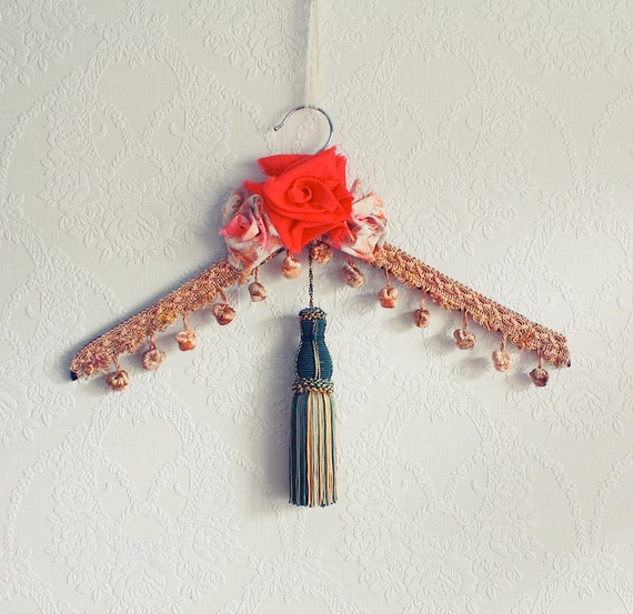 Bohemian Decor Clothing Hanger Hippie Fringe Clothes Hanger Gypsy Style Boho Chic Coral Roses Tassel