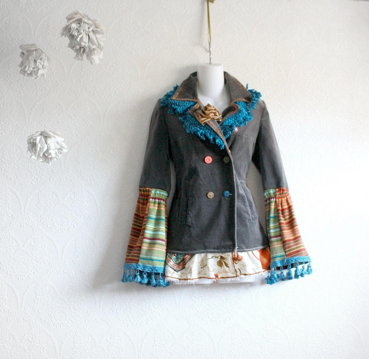 Bohemian Jacket Women S Upcycled Fringe Blazer Gray Velvet