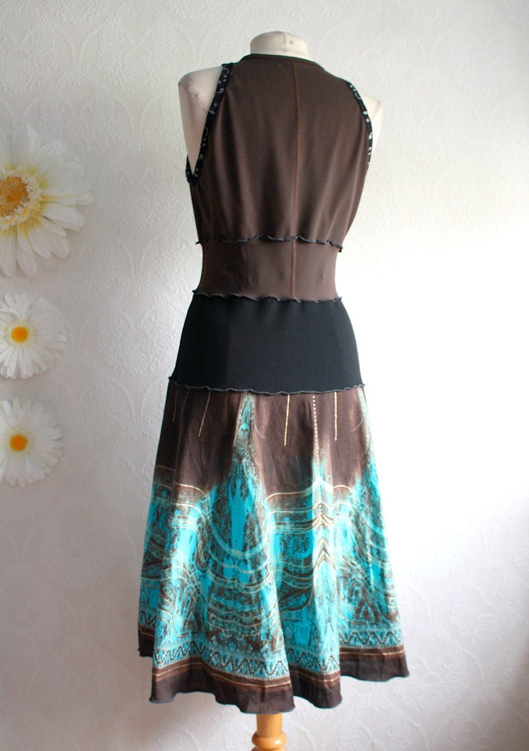 Women S Brown Dress Turquoise Sundress Upcycled Clothing