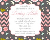 Lindsay- Floral Baby Shower Invitation for a girl in gray - PRINTABLE INVITATION DESIGN