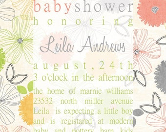 leila-custom baby shower invitation