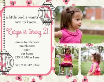 Reagen- Little Birdie Birthday Invitation - PRINTABLE INVITATION DESIGN