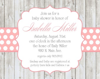 Isabella- Baby Shower Invitation for a girl - PRINTABLE INVITATION DESIGN