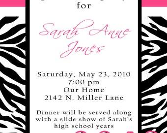 SarahAnne- Custom Zebra Graduation Announcement