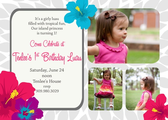 Tenlee- Custom Hibiscus Flower or Luau Birthday Invitation
