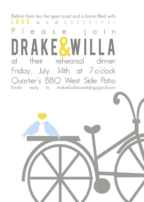 Drake&Willa- Custom Rehearsal Dinner Invitation - PRINTABLE INVITATION DESIGN