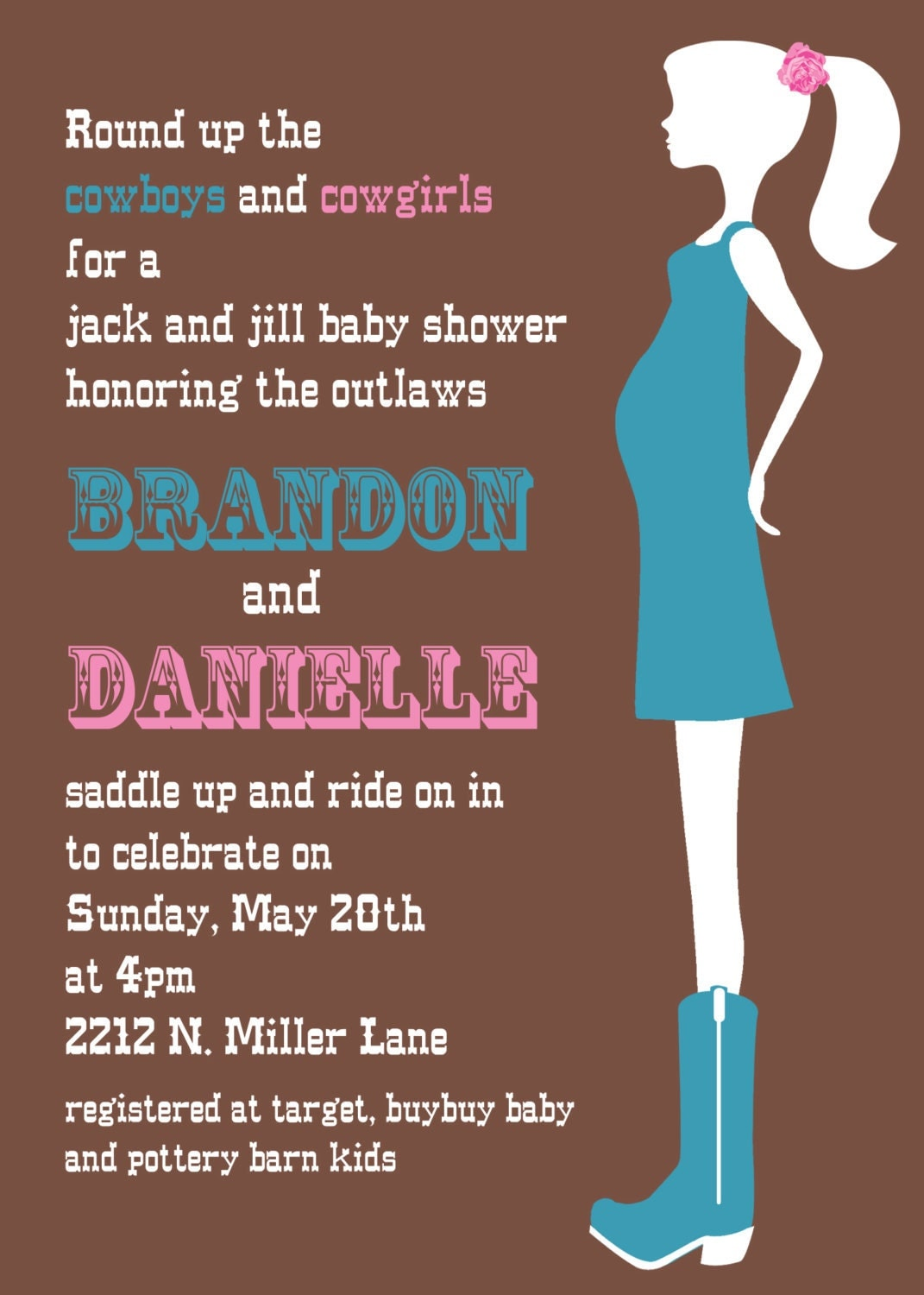 cowgirl couples baby shower invitation for a by andreagerigdesigns