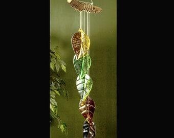 Five Leaf Fused Glass Windchime