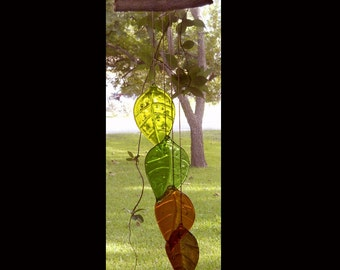 4 Leaf Fused Glass Windchime