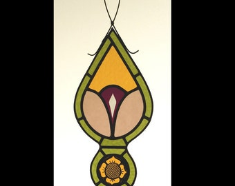 Old  English Stvle Stained Glass  Pendant