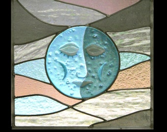 Mr. Moon Fused Stained Glass Window