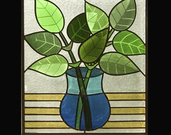 Vase of Leaves Stained Glass Window