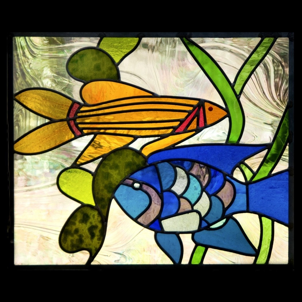 Fanciful fish stained glass for Stained glass fish