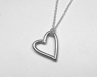 ON SALE-Sterling Silver Open Heart Necklace