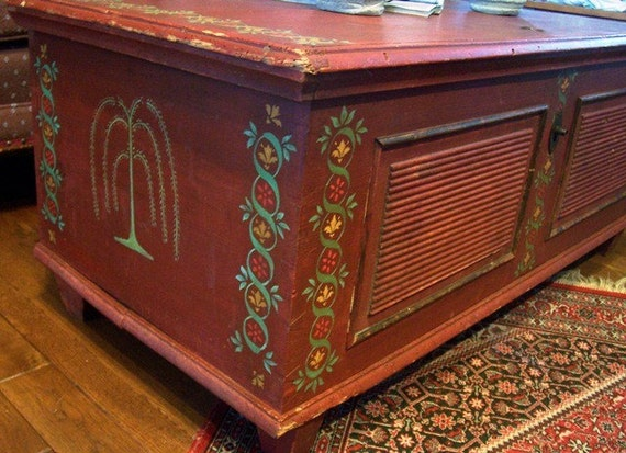 Antique Hand Painted Furniture Folk Art Chest