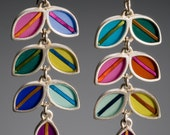 Vine silver earrings, colorful, resin inlay