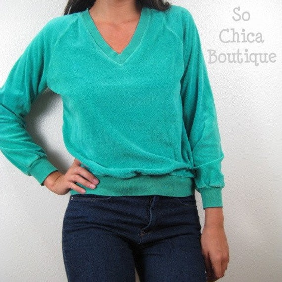 VINTAGE Velour V-Neck Sweater Green