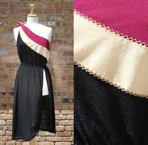 Vintage One Shoulder Dress with Slit / Young Edwardian