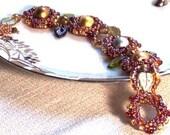 Art Deco Beaded Bracelet in Precious Metal Colors