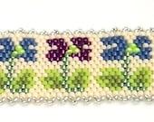 Spring Floral Bracelet Cuff Peyote