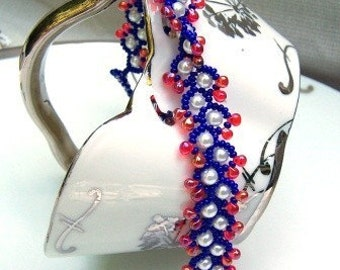 USA Patriotic Beaded Bracelet Red White and Blue