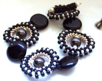 Black and White Magnetic Hematite Hand Beaded Bracelet