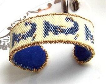 Made to Order Denim Blue Cape Cod Beaded Cuff Bracelet