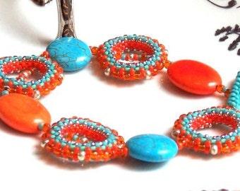 Tangerine and Turquoise Tango  Beaded Bracelet,  Celosia Orange