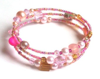Memory Wire  Bracelet of  Pink Champagne and Gold Colors