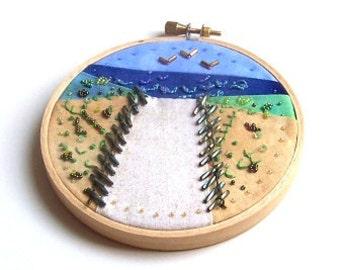 Embroidery Hoop Art Beach Path, Mixed Media Hoop Art, 4 Inch Hoop Art