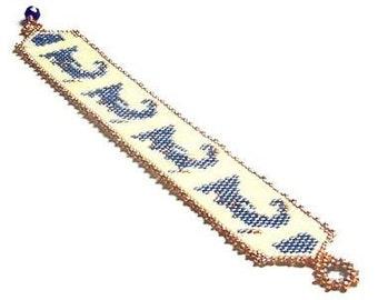 Plus Size Cape Cod Bracelet in Denim Blue and Cream