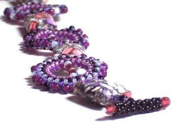 Orchid Purple  Beaded Bracelet