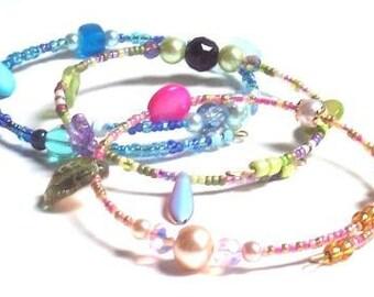 Memory Wire Beaded Trio Bracelets