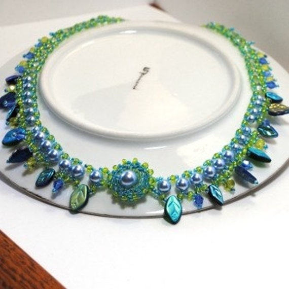 Statement Blue Choker Caribbean Colors Pearls and Leaves