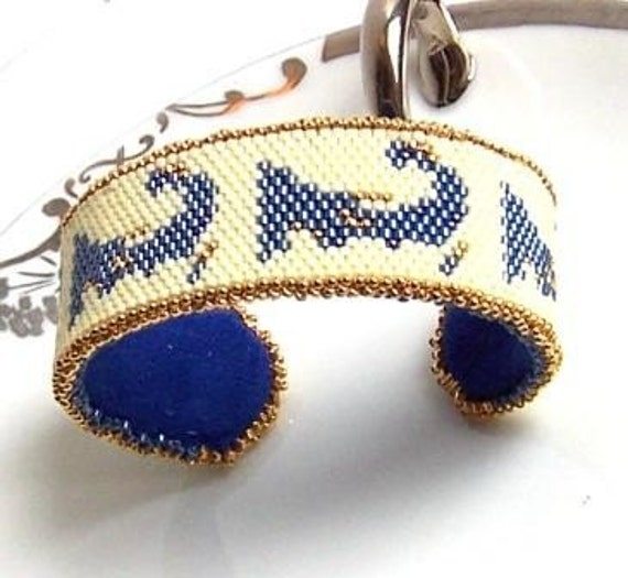 Made to Order Denim Blue Cape Cod Beaded Cuff Bracelet