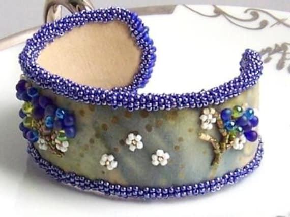 Unique Maine Wild Blueberry Beaded Cuff Bracelet