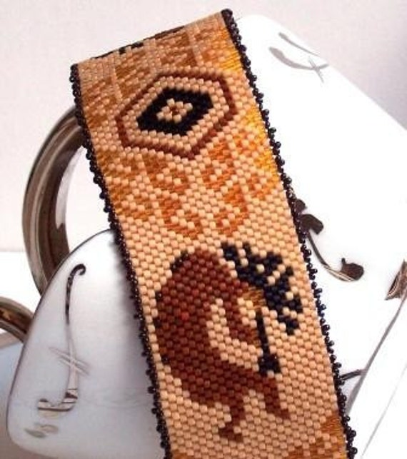 Tribal  Peyote Plus Size Bracelet,  Handbeaded Kokopelli