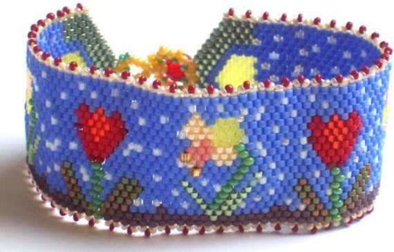April Showers Bring May Flowers Hand Beaded  Bracelet