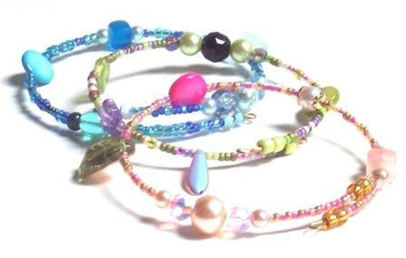 Memory Wire Beaded Trio Bracelets