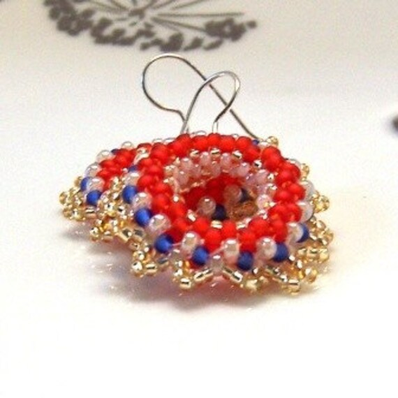 USA Patriotic Hand Beaded Earrings