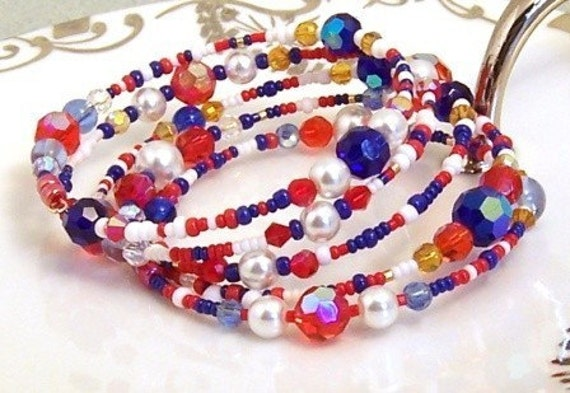 4th of July Red White and Blue  Patriotic  Memory Wire Bracelet