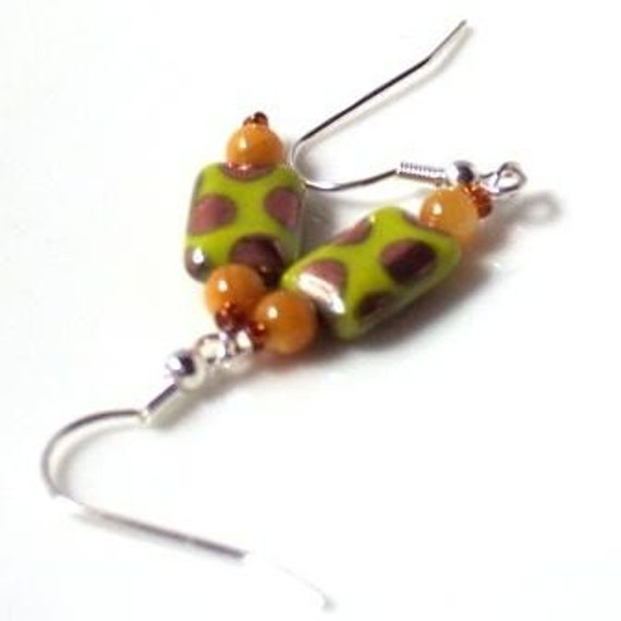 Funky Earrings in Chartreuse and  Dots